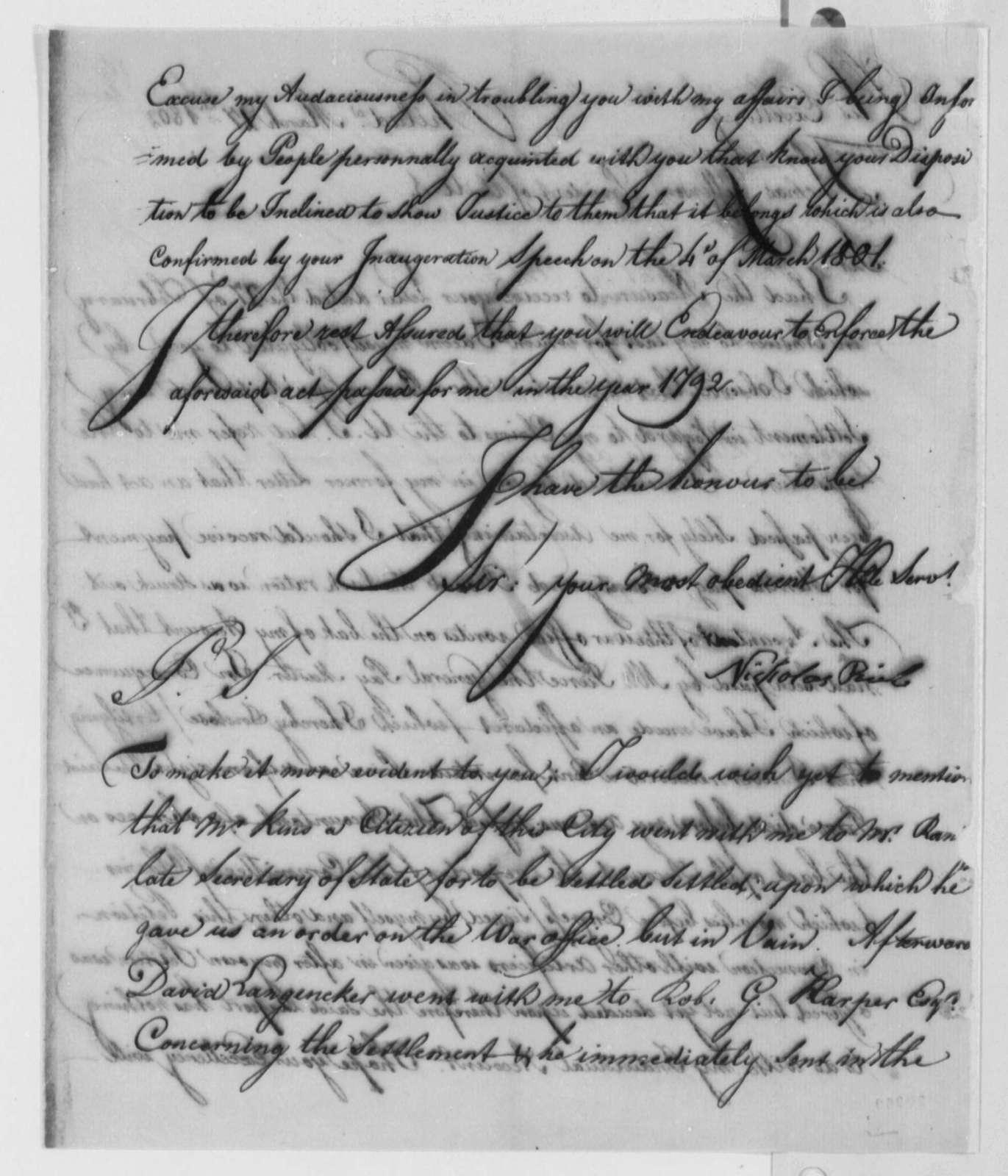 Nicholas Rieb to Thomas Jefferson, March 27, 1802