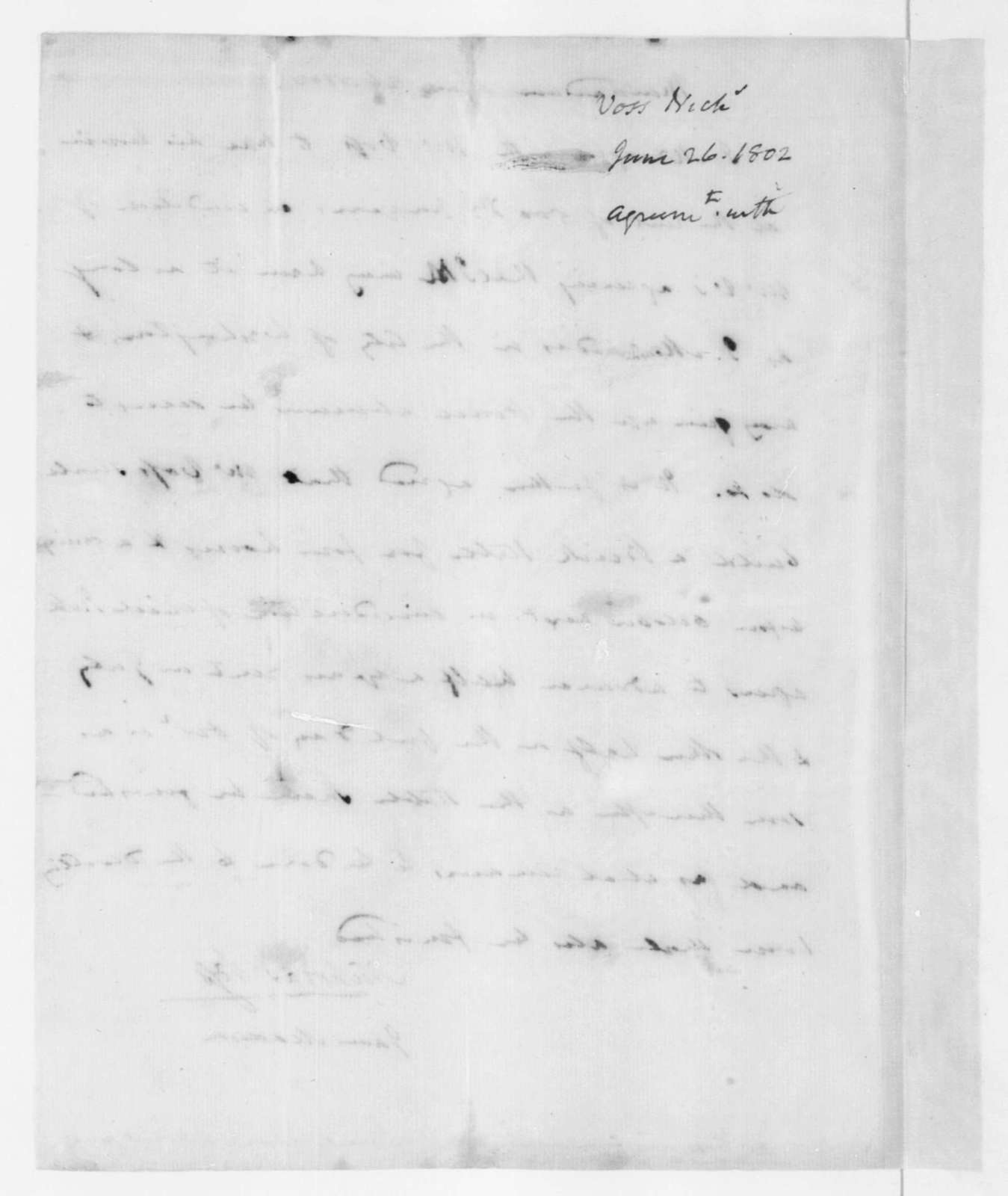 Nicholas Voss and James Madison, June 26, 1802. Agreement on the lease of a house for J. Madison.