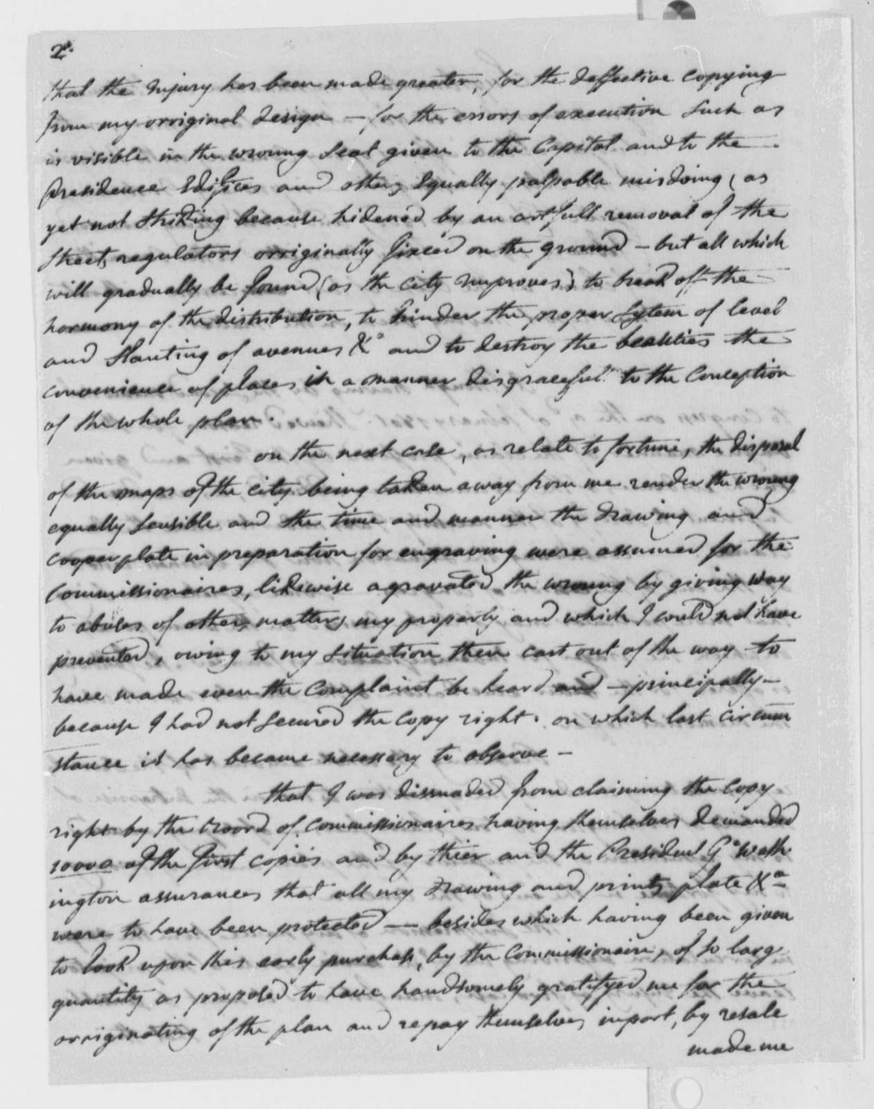 Peter Charles L' Enfant to Thomas Jefferson, March 12, 1802, with Memorial