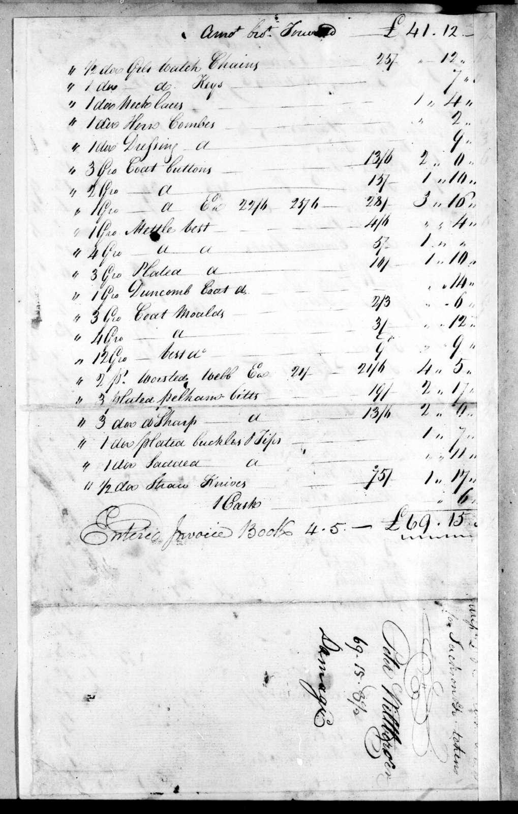 Peter Wilbur to Deaderick & Tatum, May 12, 1802