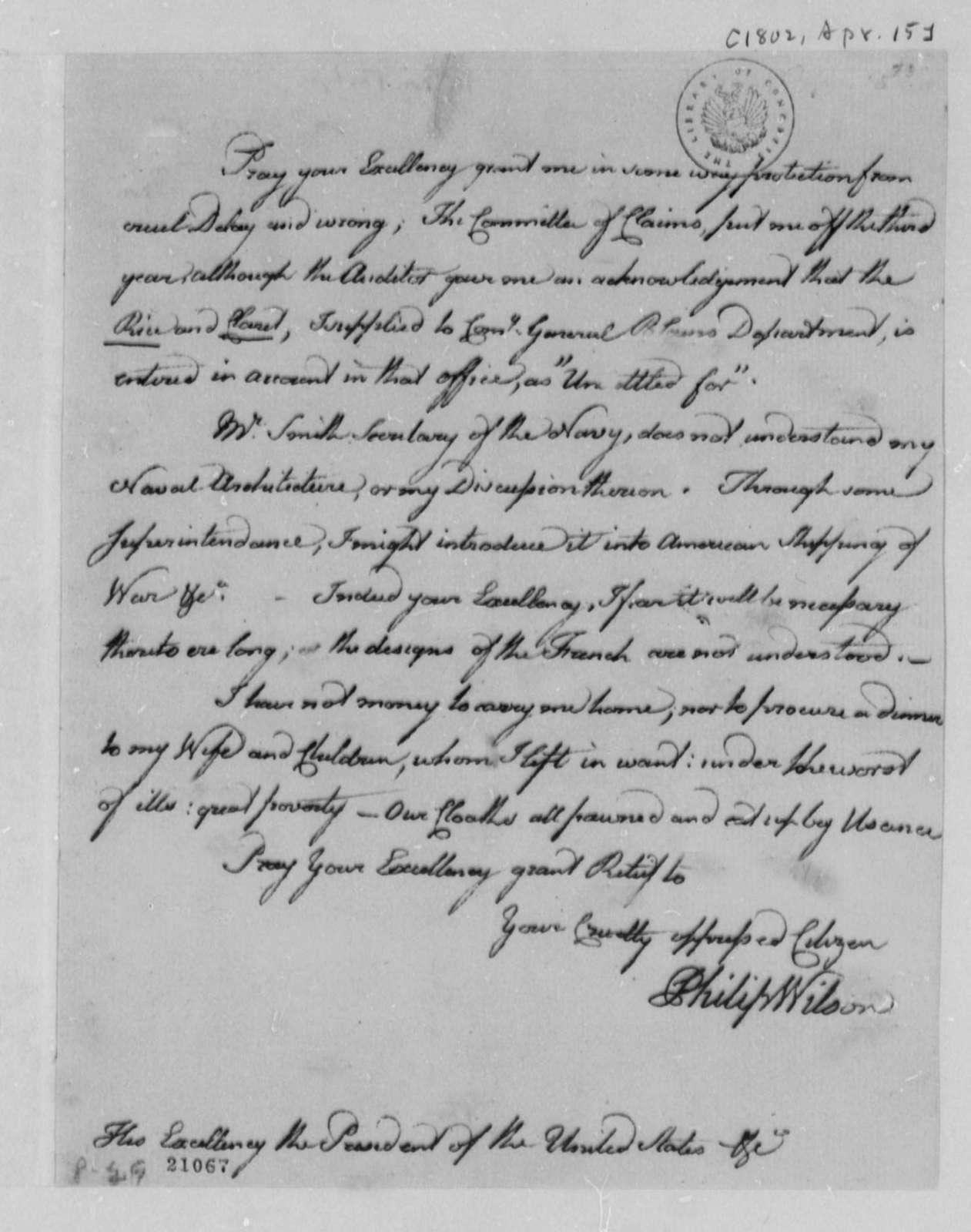 Philip Wilson to Thomas Jefferson, April 15, 1802
