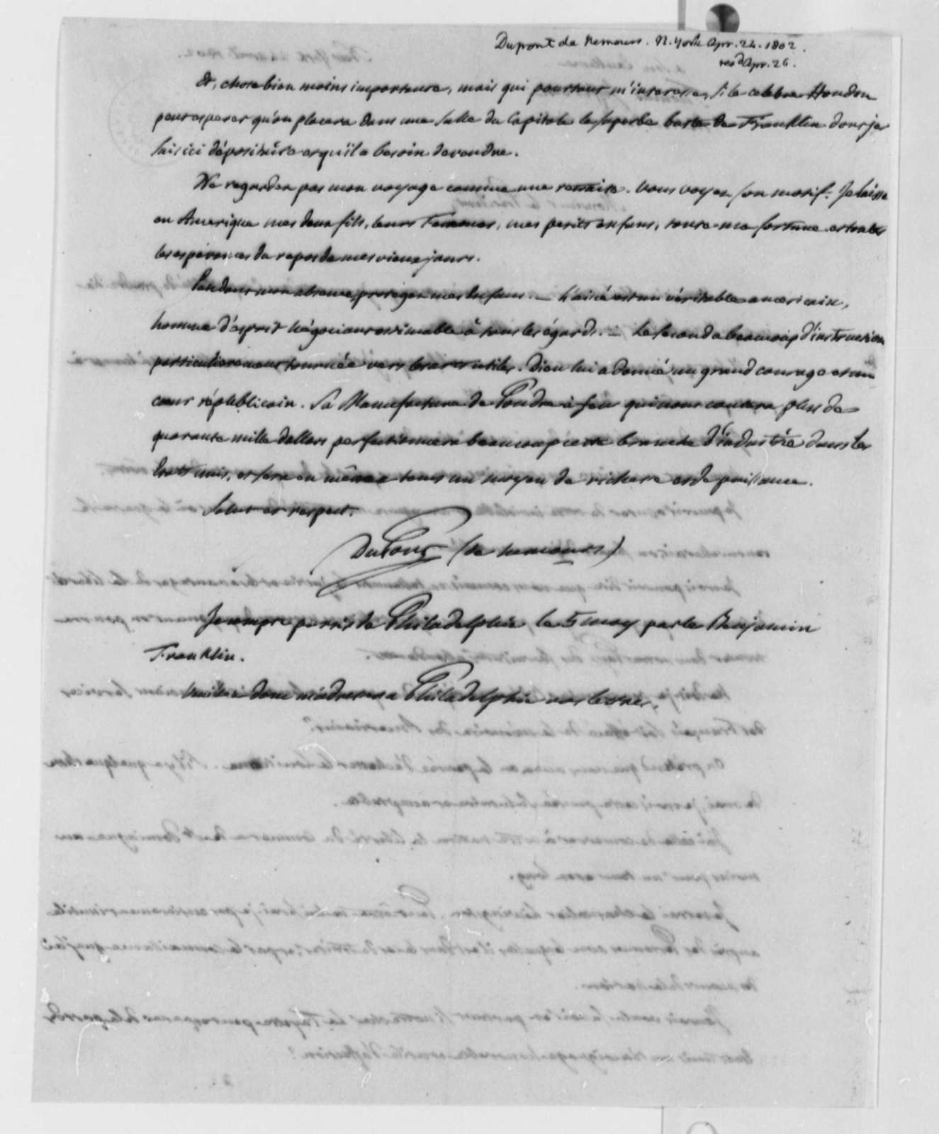 Pierre S. Dupont de Nemours to Thomas Jefferson, April 24, 1802, in French