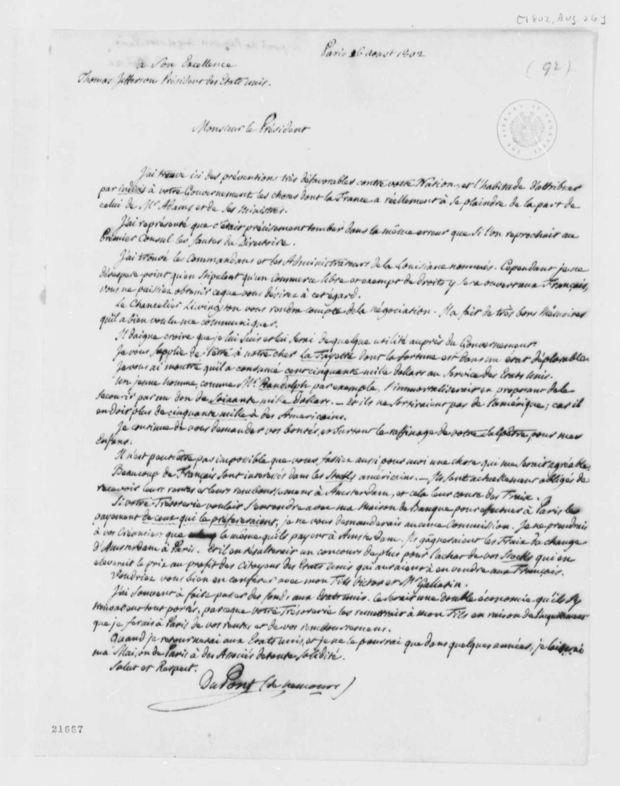 Pierre S. Dupont de Nemours to Thomas Jefferson, August 26, 1802, in French