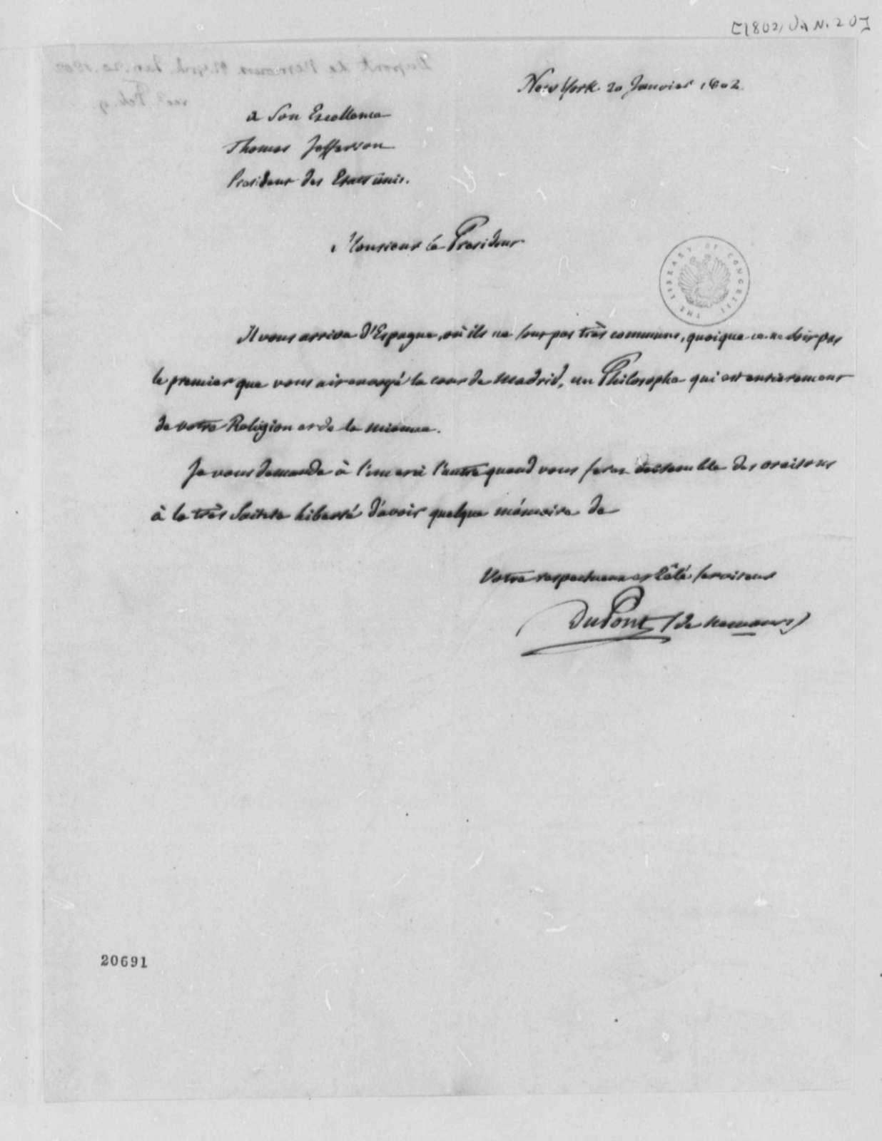 Pierre S. Dupont de Nemours to Thomas Jefferson, January 20, 1802