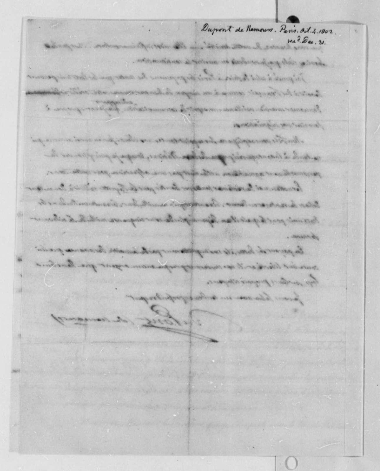 Pierre Samuel Dupont de Nemours to Thomas Jefferson, October 4, 1802, in French
