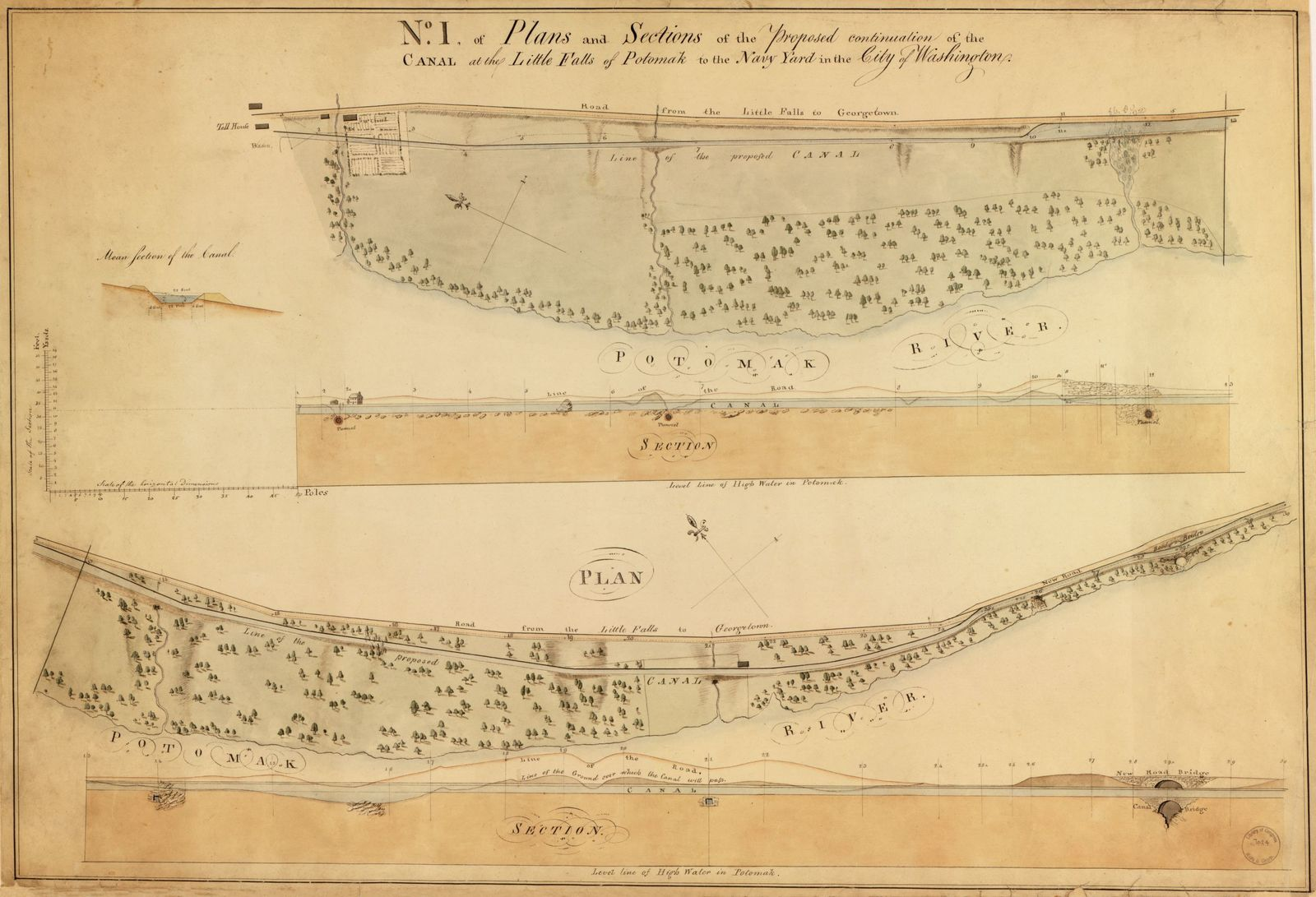 [Plans and sections of the proposed continuation of the Washington Canal from Rock Creek to Little Falls of the Potomac, Washington D.C.] /