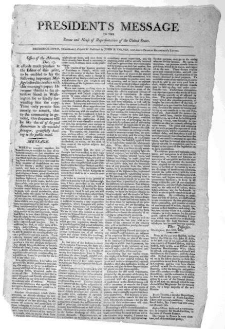 President's message to the Senate and House of representatives of the United States Dec. 15, 1802. Frederick-Town (Maryland) Printed & Published by John B. Colvin [1802].