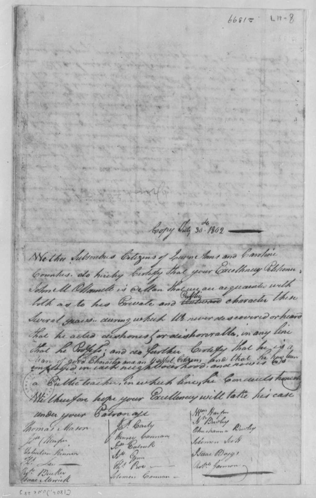 Queen Ann and Caroline County Citizens to Thomas Jefferson, July 30, 1802, O'Harnett's Good Character