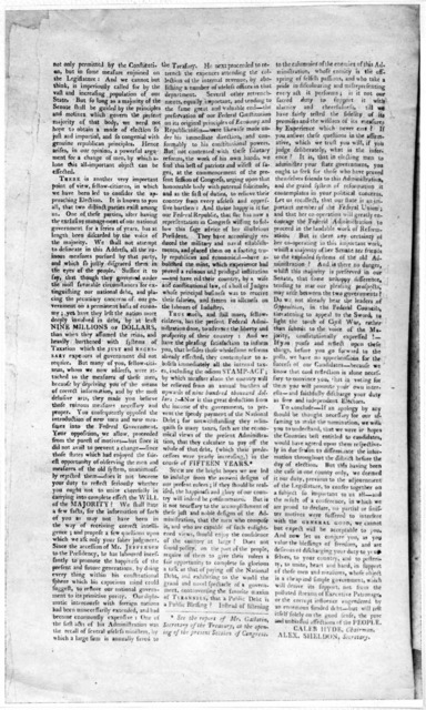 Republican nominations. At a meeting of the Republican members of the Legislature, together with a number of other citizens of the Western district, held at Wendell's hotel, in the City of Albany, on Monday, the 29th day of March, 1803 ... The f