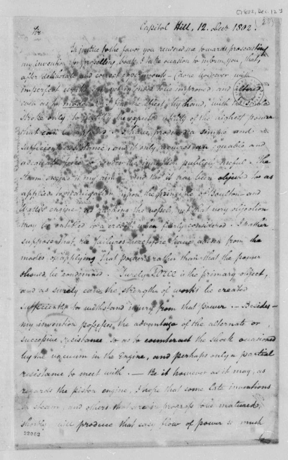 Richard Claiborne to Thomas Jefferson, December 12, 1802