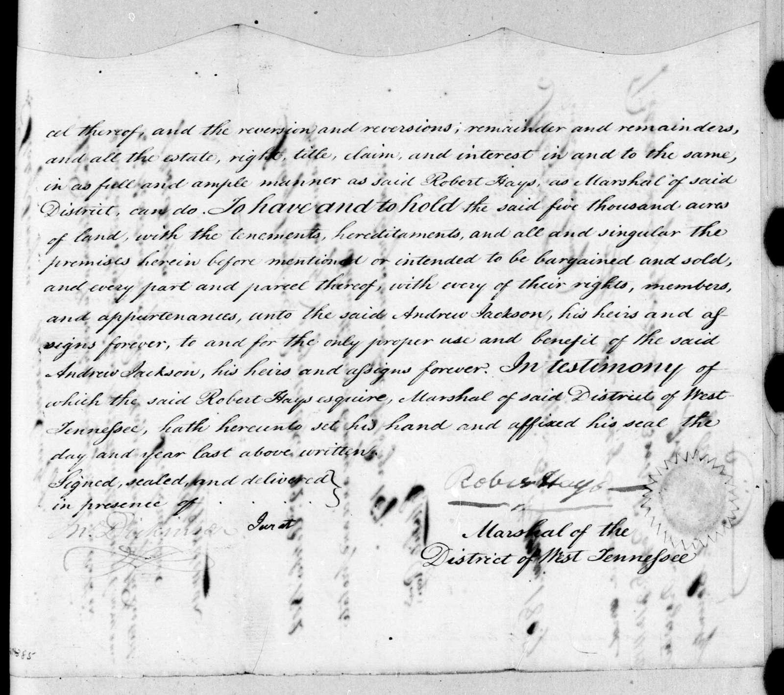 Robert Hays to Andrew Jackson, July 13, 1802
