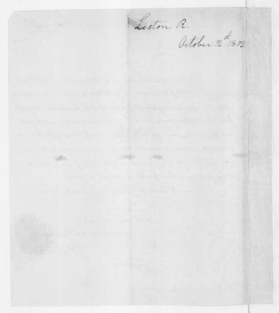 Robert Liston to James Madison, October 12, 1802.