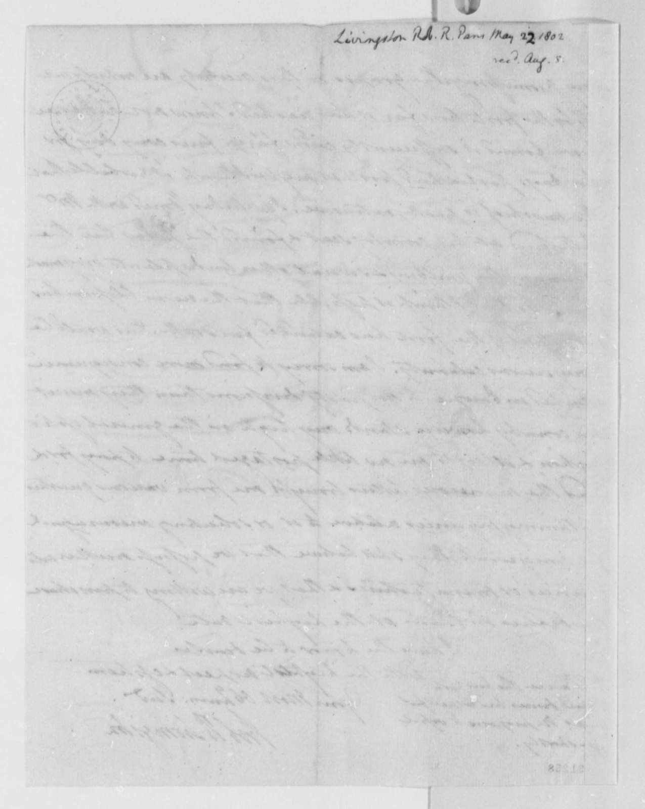 Robert R. Livingston to Thomas Jefferson, May 22, 1802