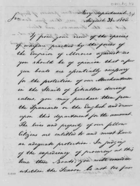 Robert Smith to Charles Morris, August 31, 1802