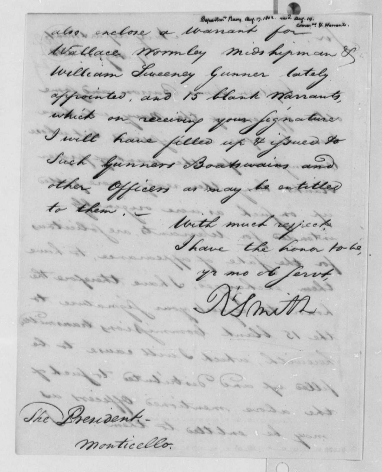 Robert Smith to Thomas Jefferson, August 17, 1802