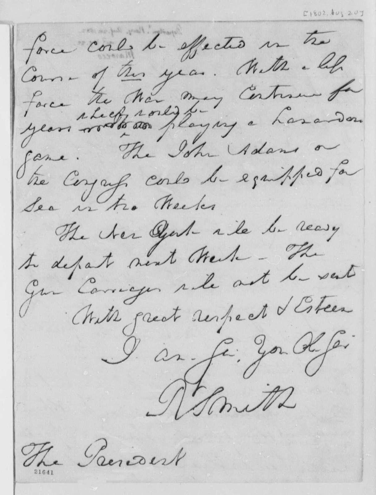 Robert Smith to Thomas Jefferson, August 20, 1802