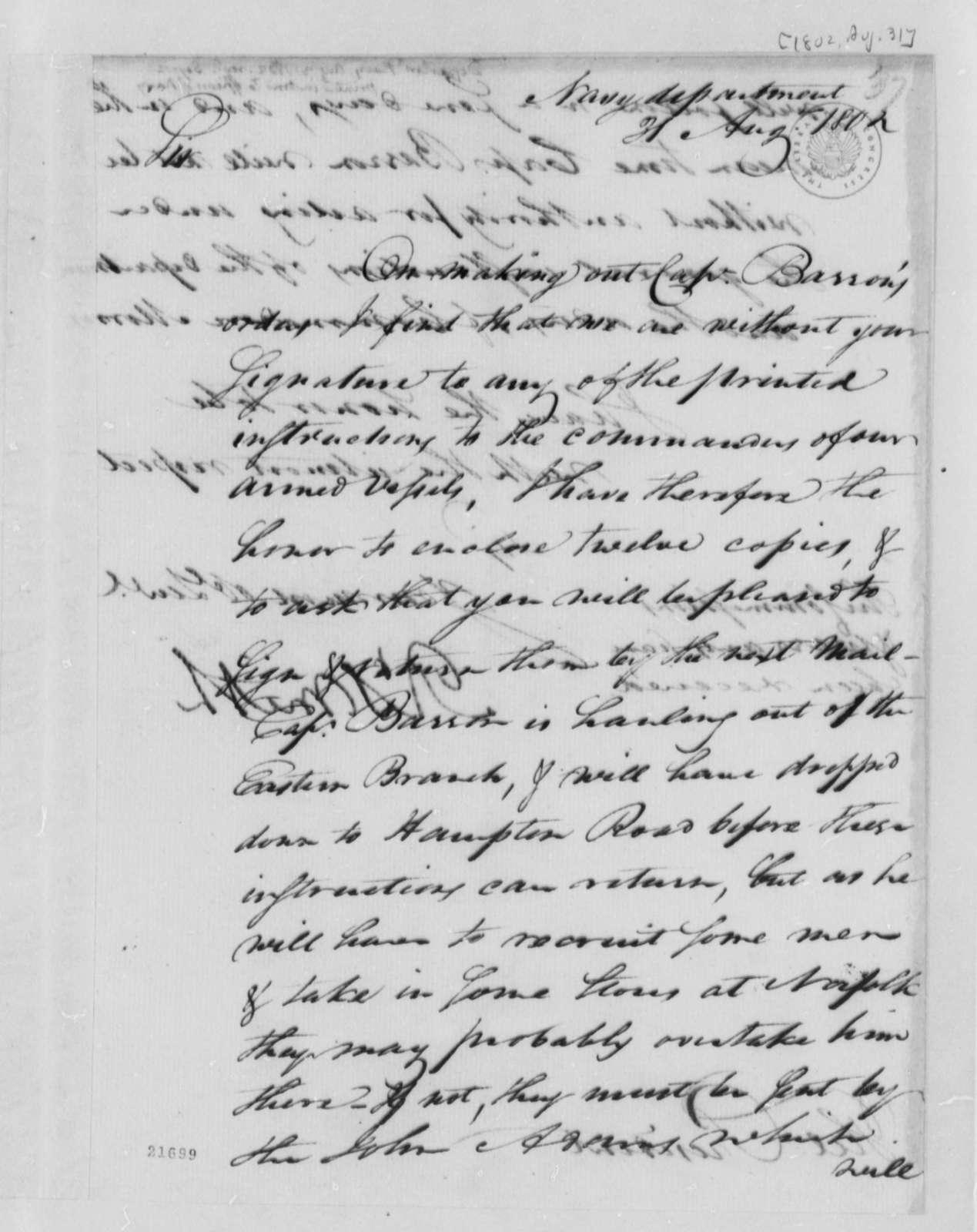 Robert Smith to Thomas Jefferson, August 31, 1802