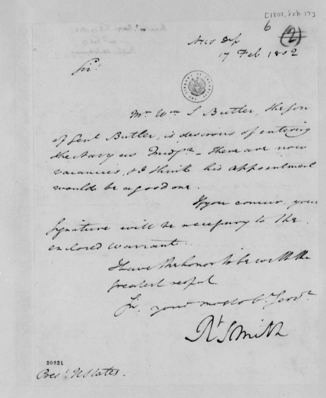 Robert Smith to Thomas Jefferson, February 17, 1802