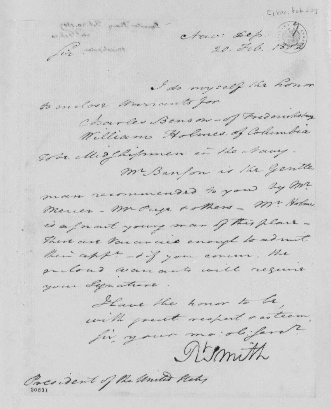 Robert Smith to Thomas Jefferson, February 20, 1802
