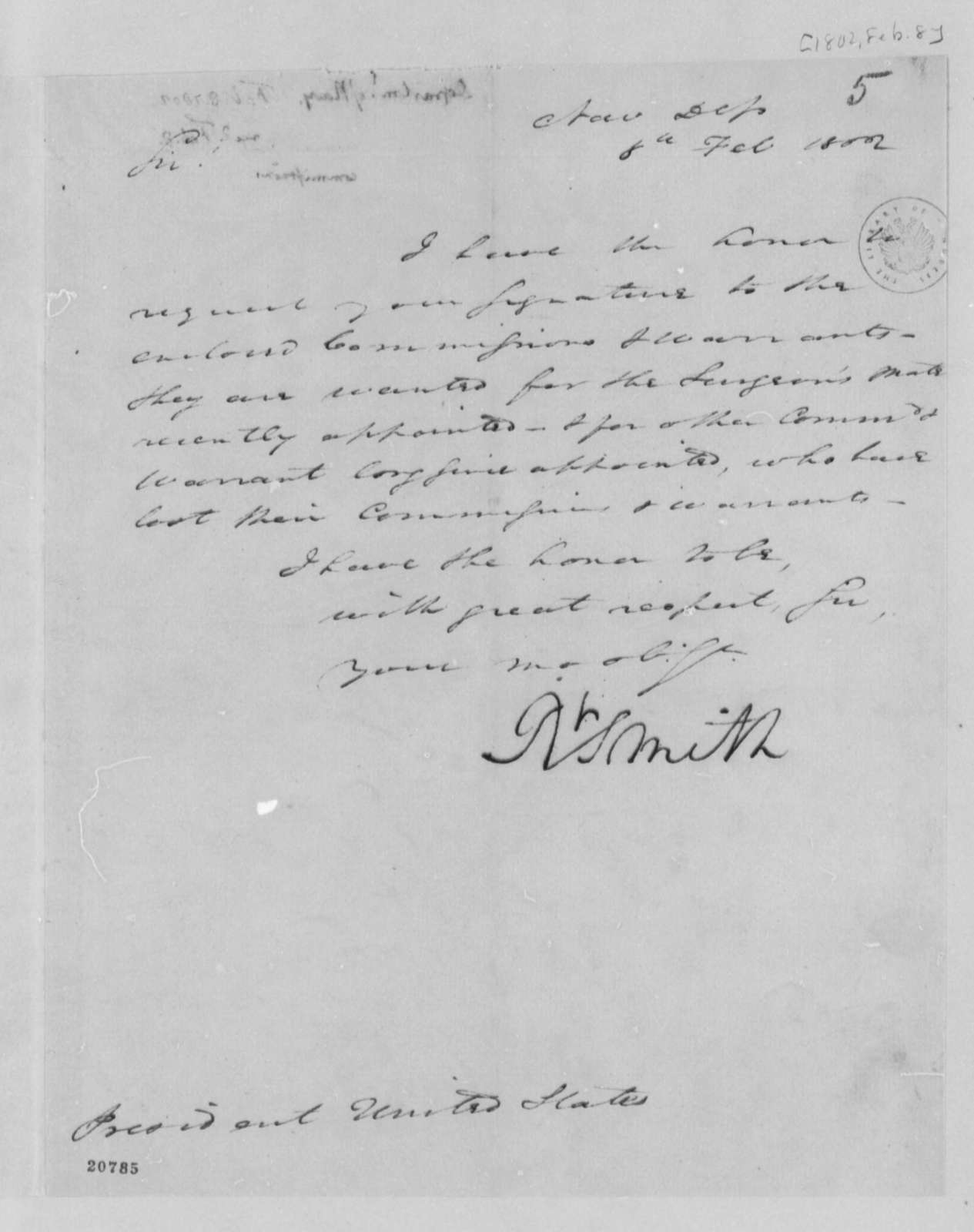 Robert Smith to Thomas Jefferson, February 8, 1802