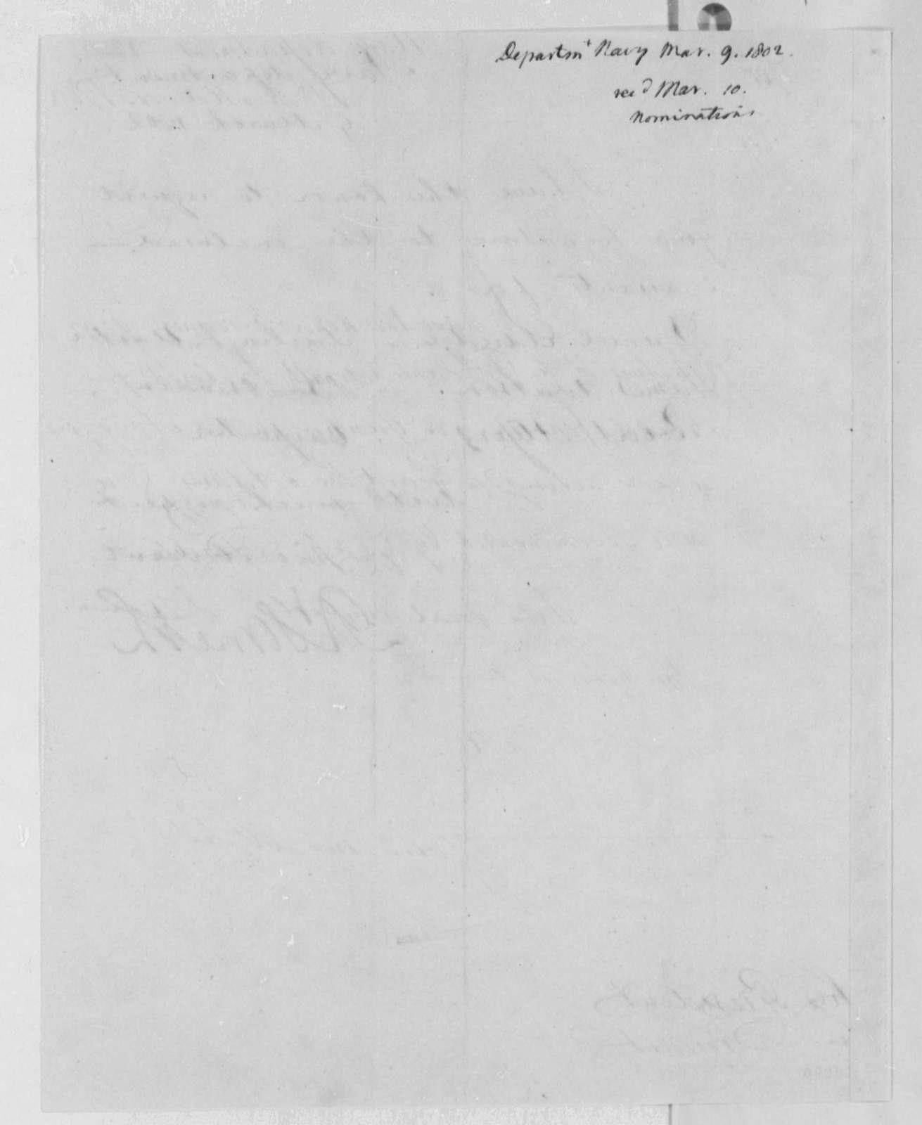 Robert Smith to Thomas Jefferson, March 9, 1802