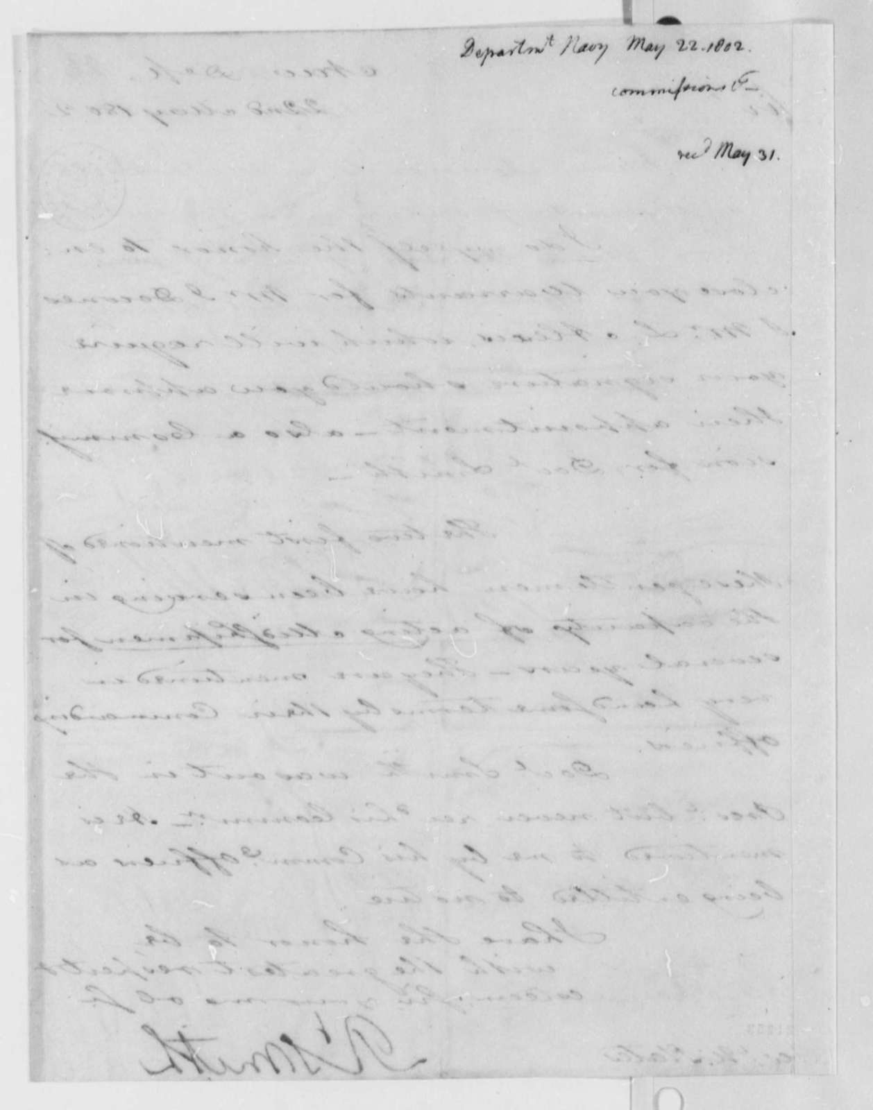 Robert Smith to Thomas Jefferson, May 22, 1802