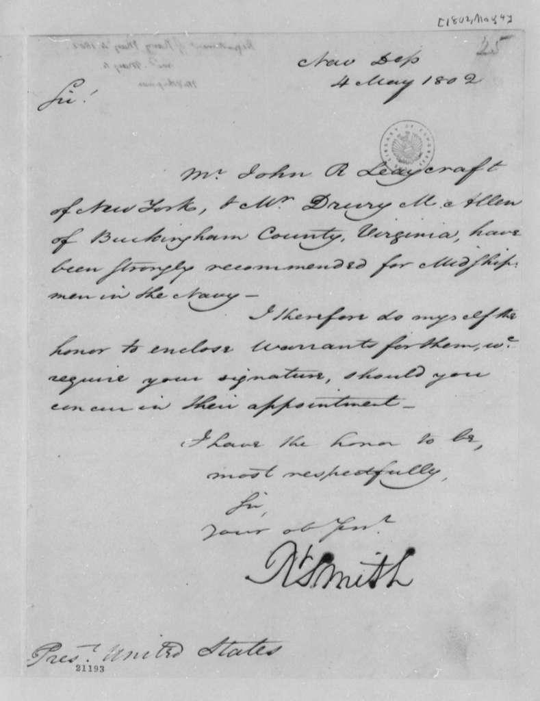 Robert Smith to Thomas Jefferson, May 4, 1802