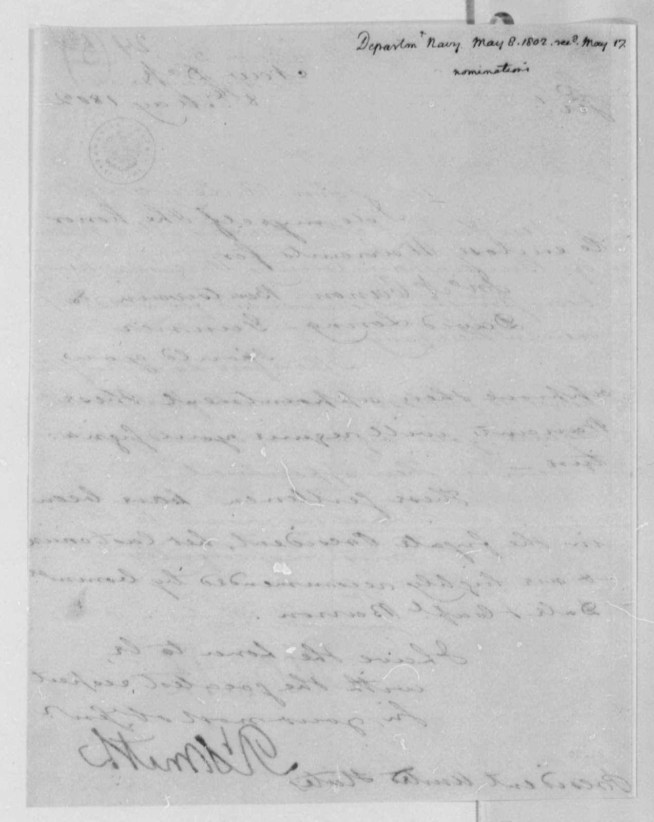 Robert Smith to Thomas Jefferson, May 8, 1802