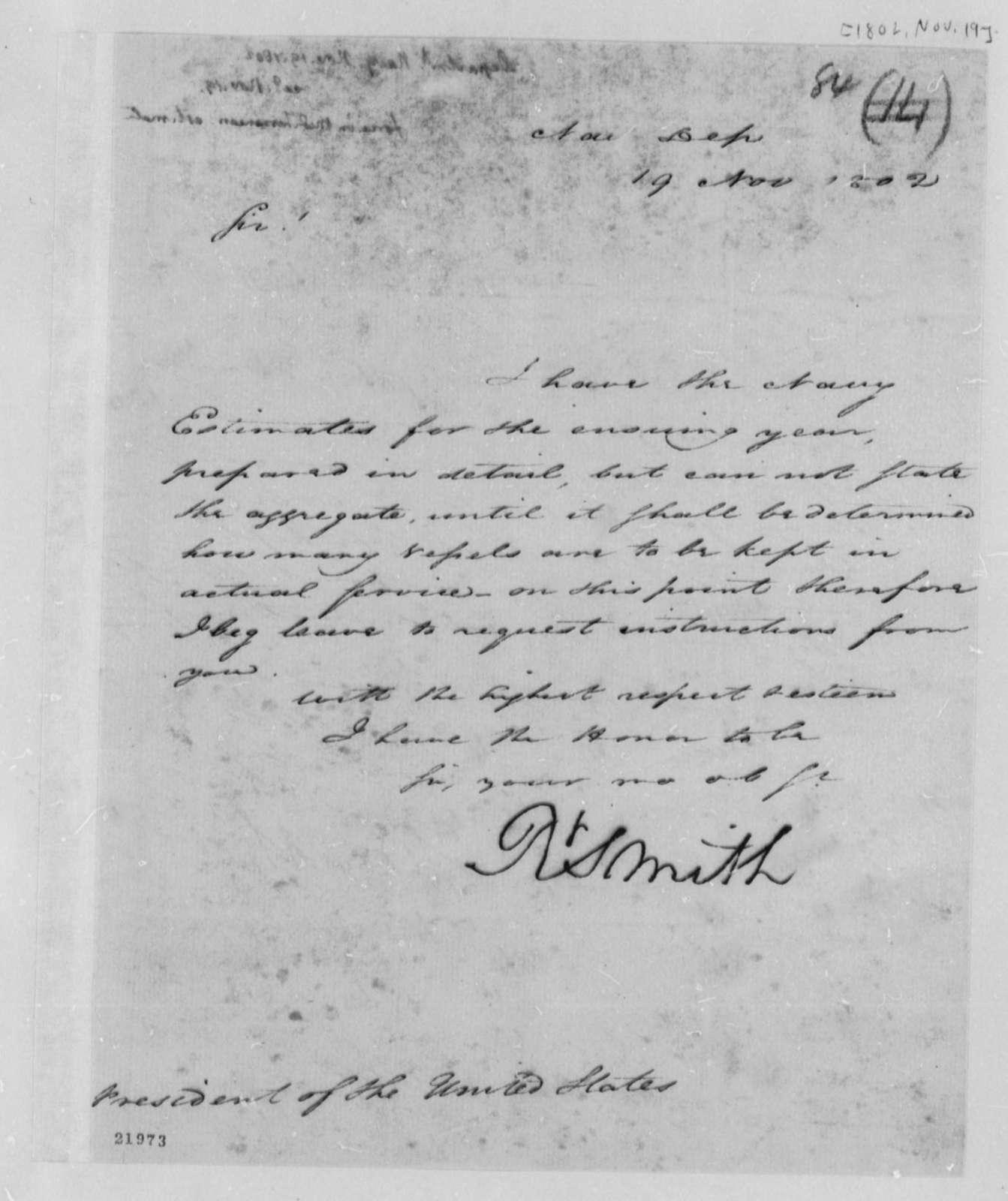 Robert Smith to Thomas Jefferson, November 19, 1802