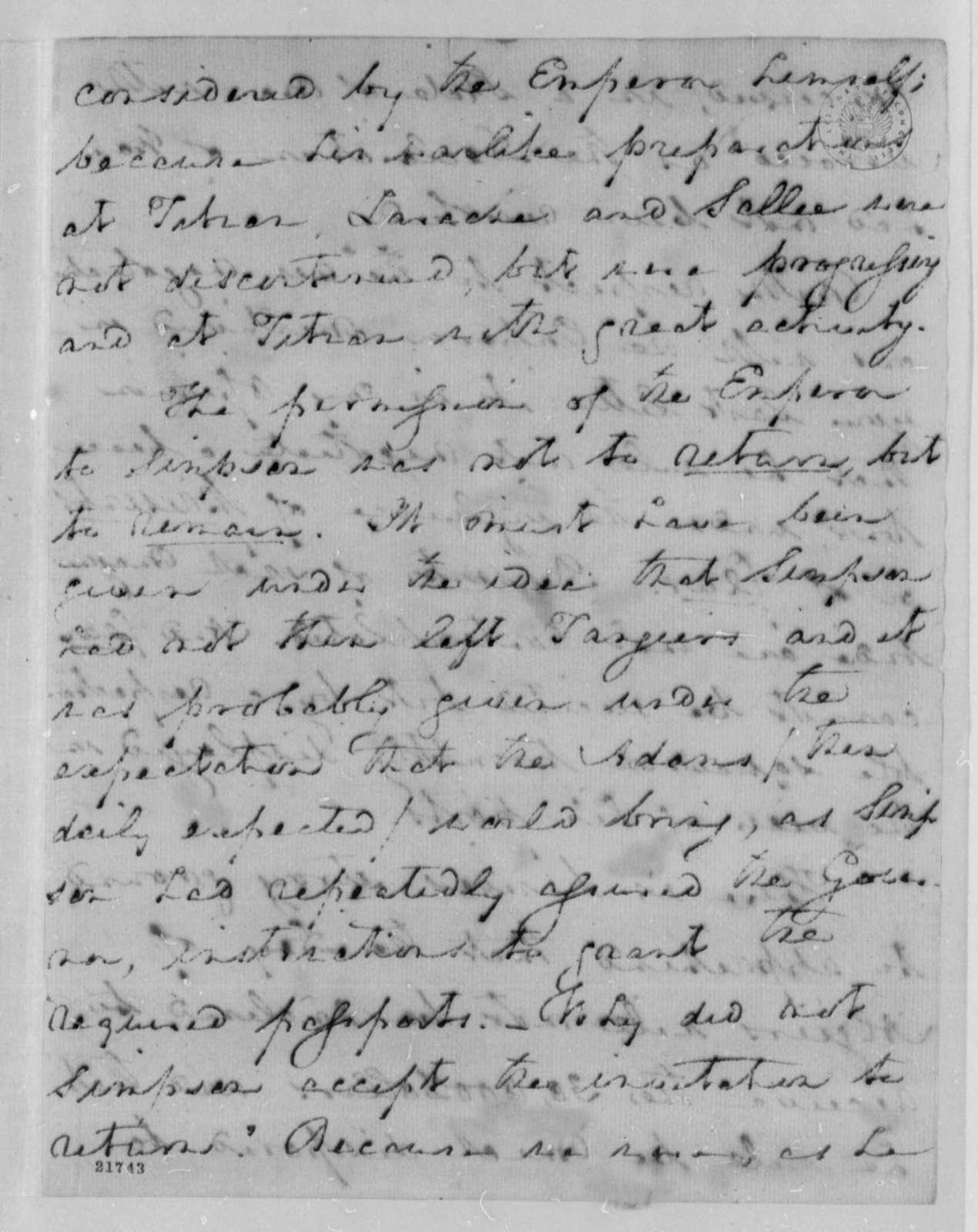 Robert Smith to Thomas Jefferson, September 14, 1802