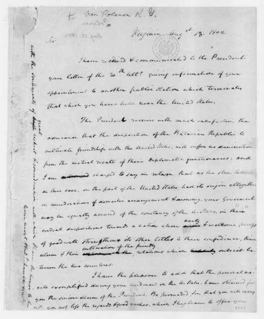 Roger Gerard van Polanen to James Madison, August 13, 1802.