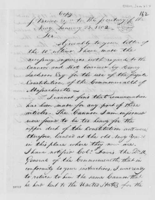 Samuel Brown to Robert Smith, January 25, 1802, Enclosure with Robert Smith Letter, April 9, 1804