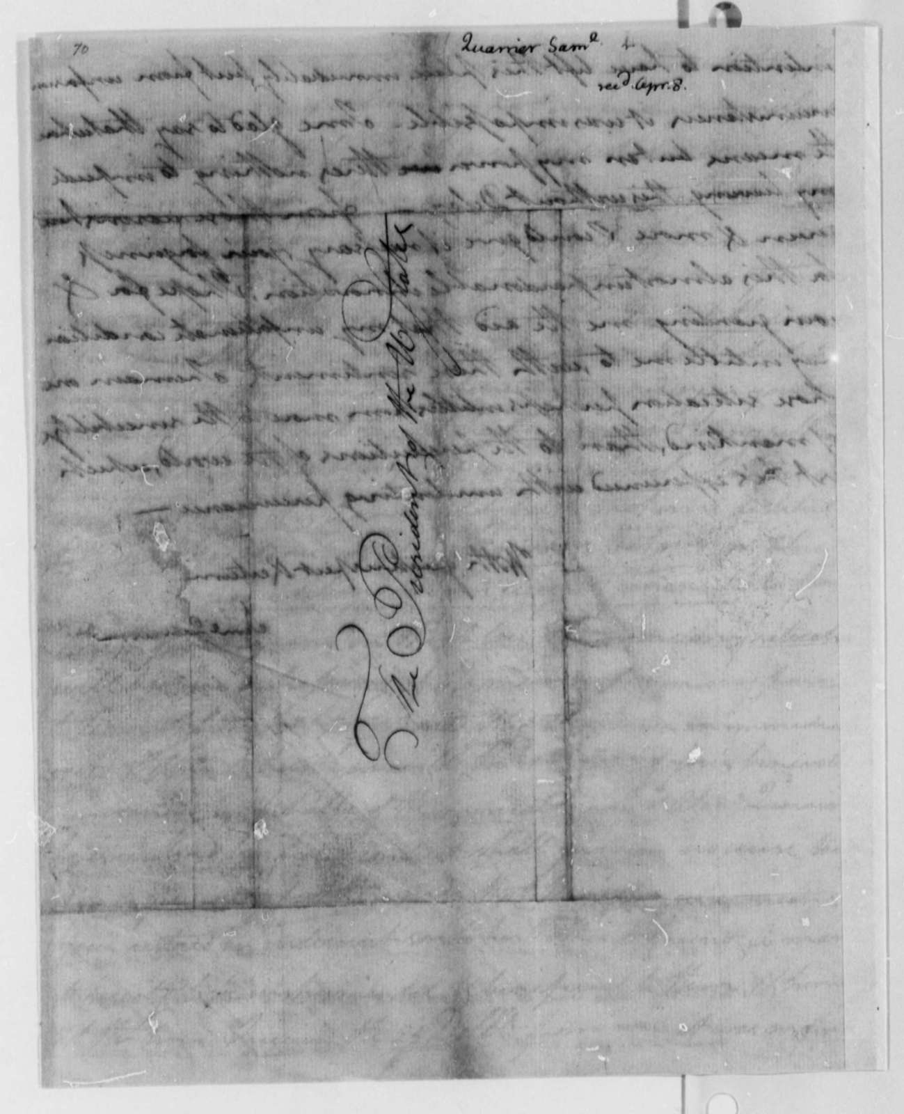 Samuel Quarrier to Thomas Jefferson, April 8, 1802