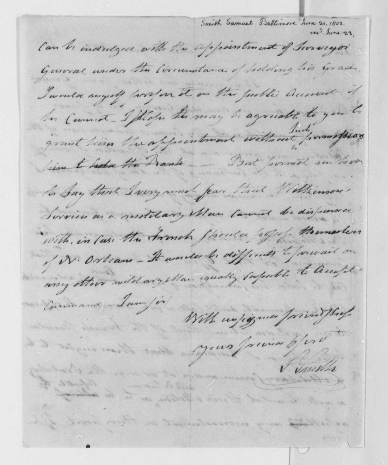 Samuel Smith to Thomas Jefferson, June 21, 1802