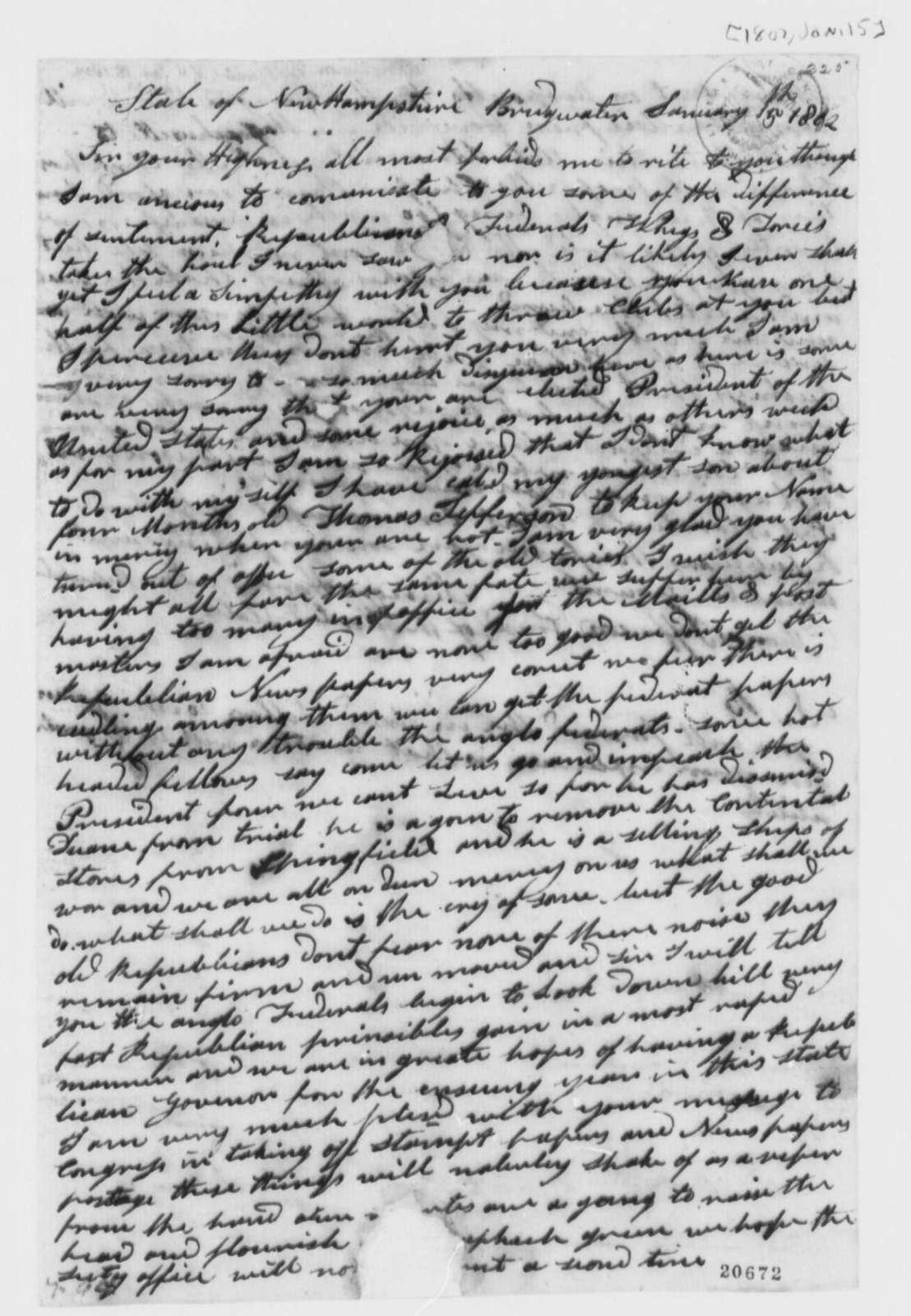 Simon Harris to Thomas Jefferson, January 15, 1802