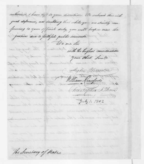 Stephen Pleasonton and others to James Madison, July 1, 1802. Petition.