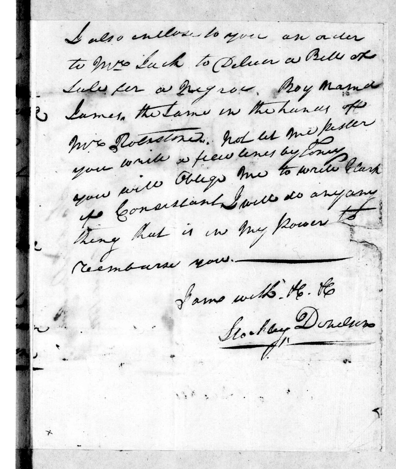 Stockley Donelson to Andrew Jackson, March 26, 1802