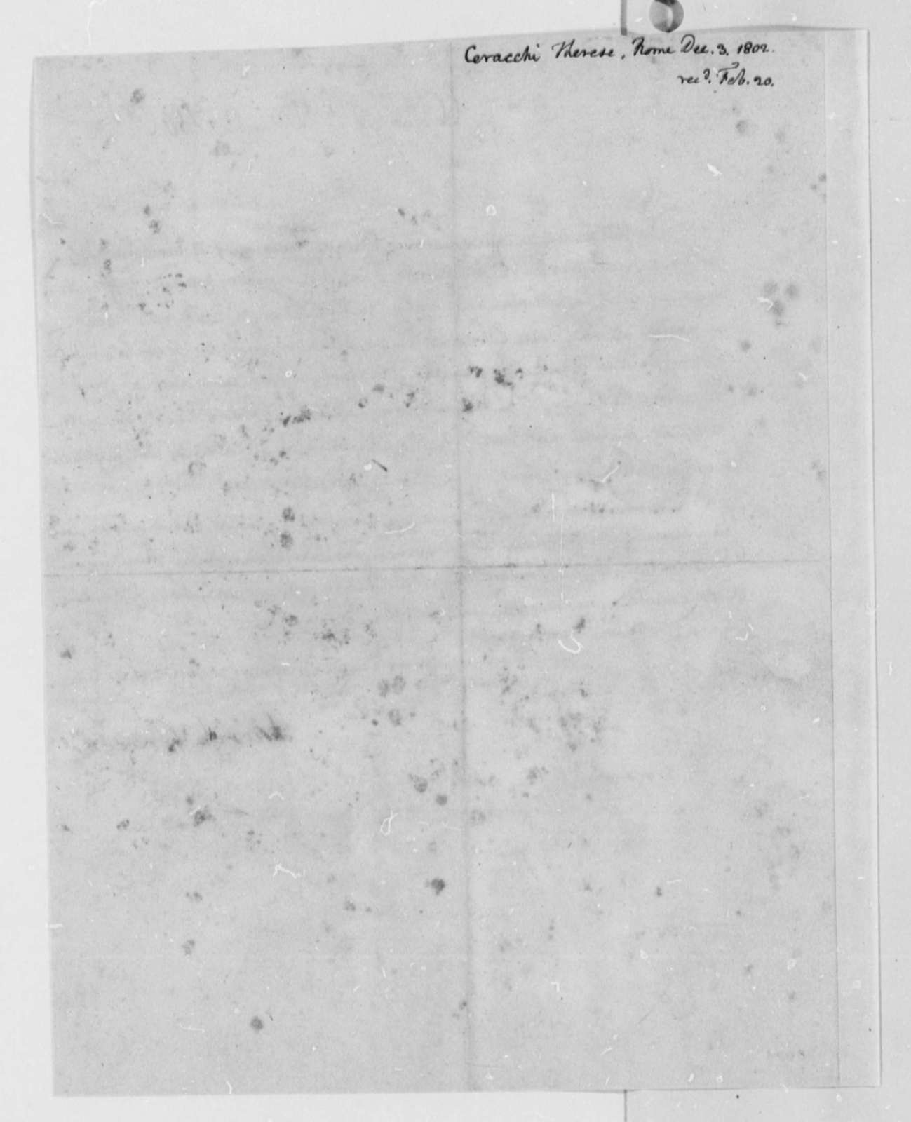 Therese Ceracchi to Thomas Jefferson, December 3, 1802, in French