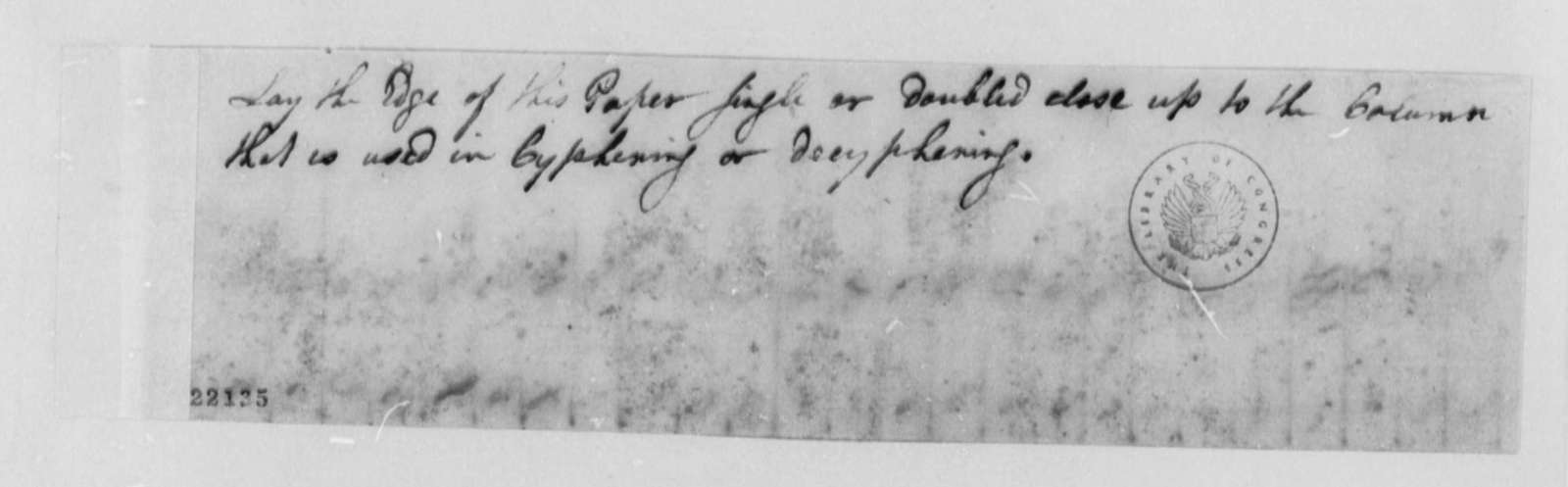 Thomas Jefferson, 1802, Ciphers and Data