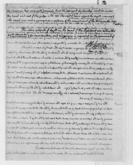 Thomas Jefferson, April 11, 1802, Questionnaire and Notes on Acts