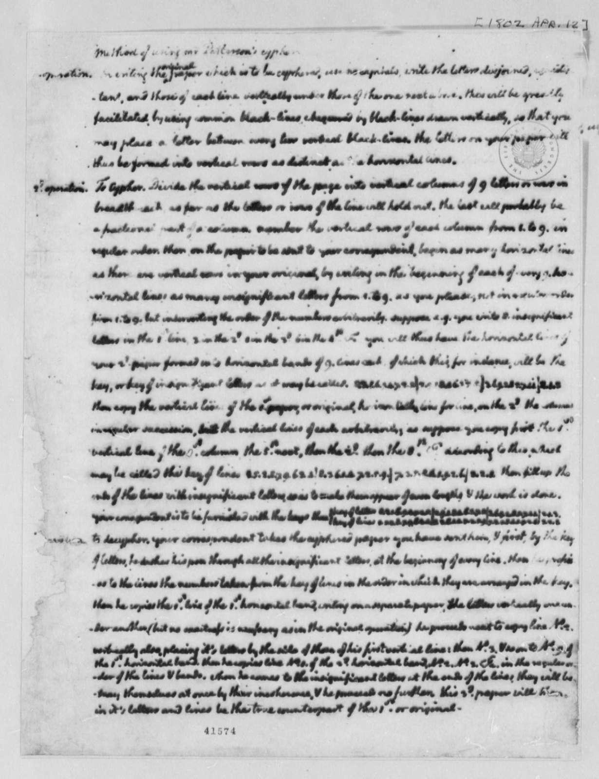 Thomas Jefferson, April 12, 1802, Patterson's Cipher
