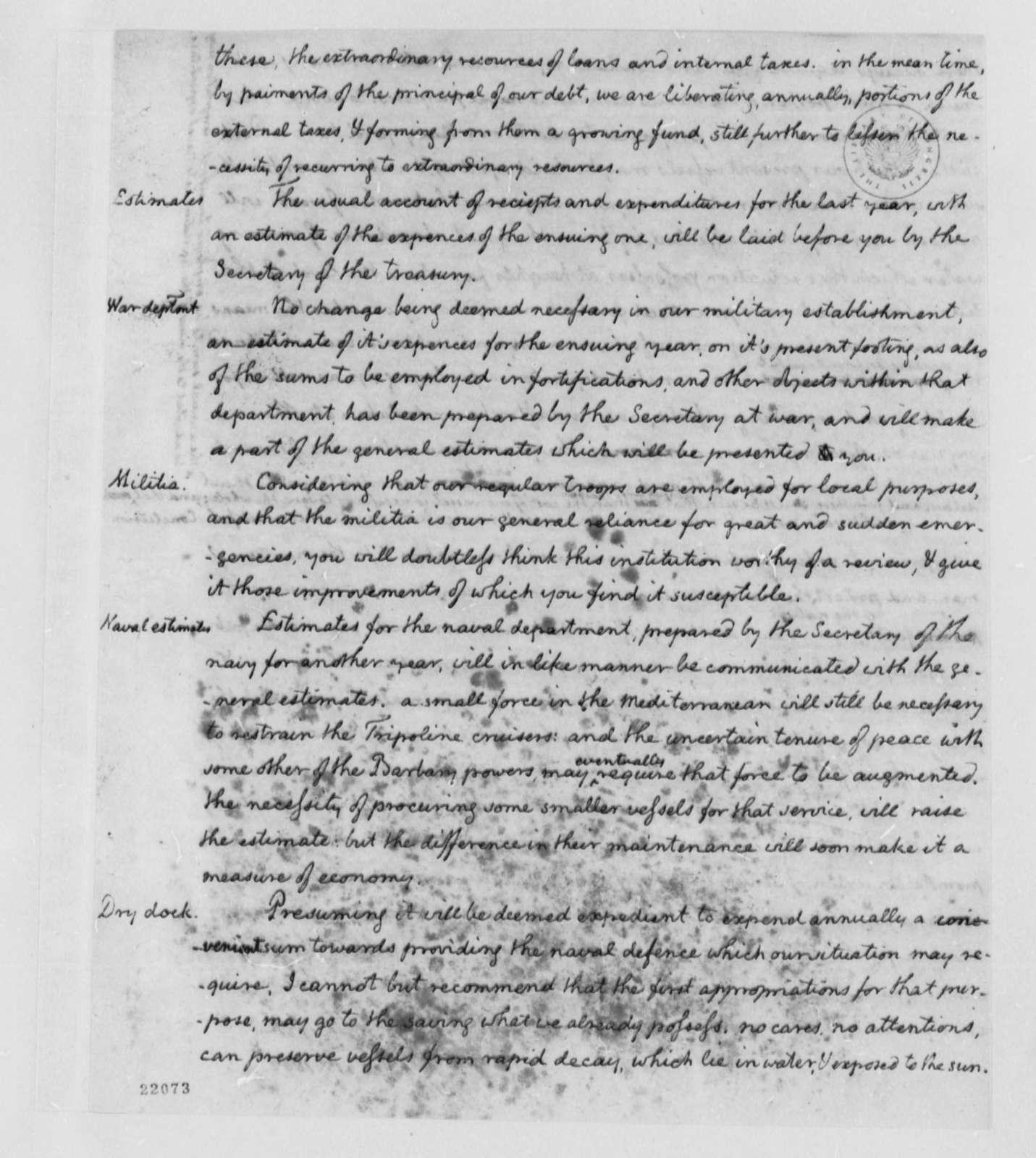 Thomas Jefferson, December 15, 1802, Annual Message