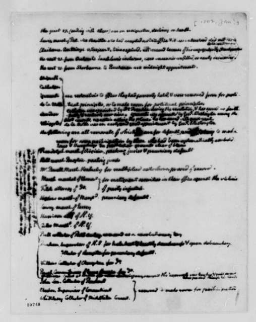 Thomas Jefferson, January 1802, List of Removals from Public Office