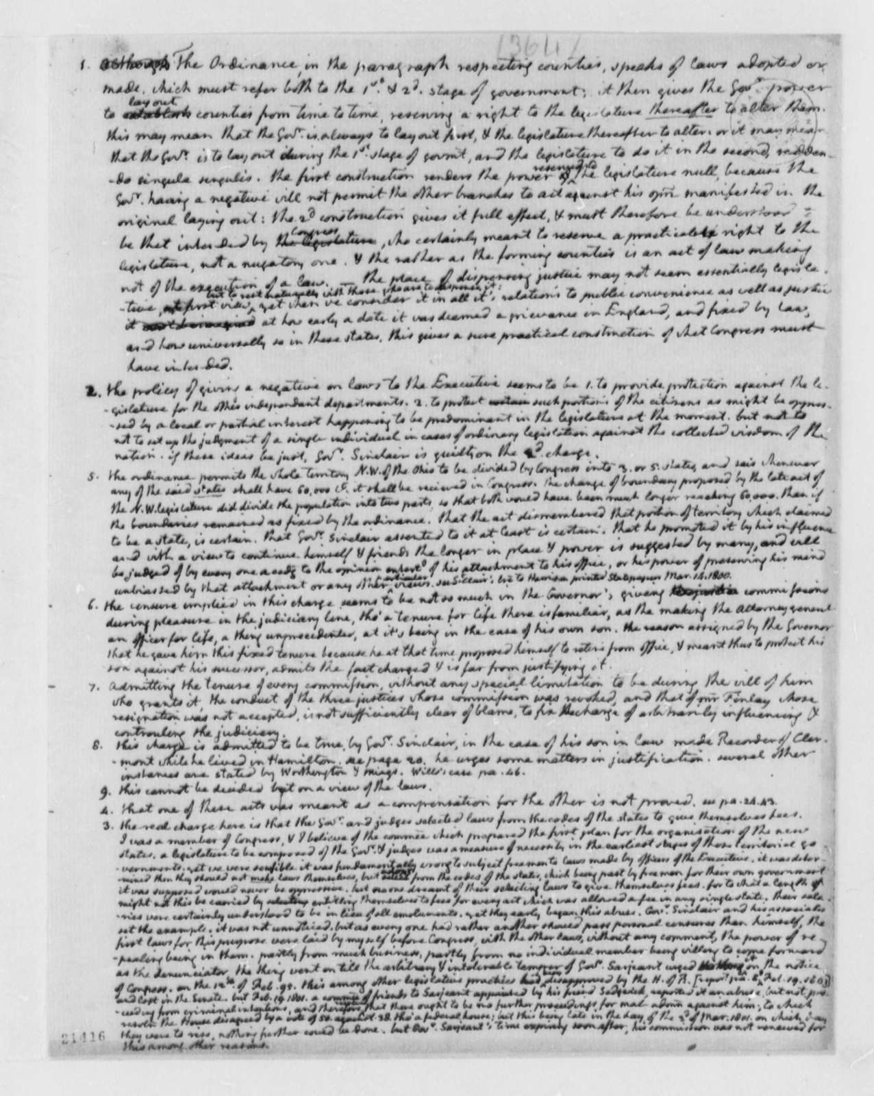 Thomas Jefferson, June 1802, Charges Against Arthur Saint Clair
