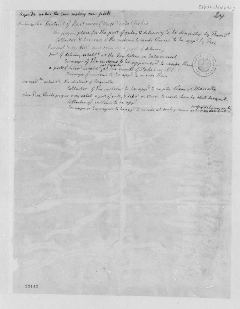 Thomas Jefferson, June 30, 1802, Law Making on New Ports