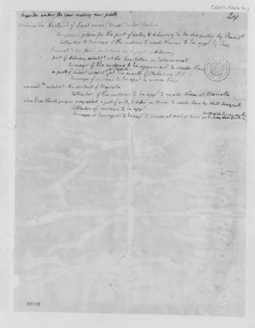 Thomas Jefferson, June 30, 1802, Law Making on New Ports