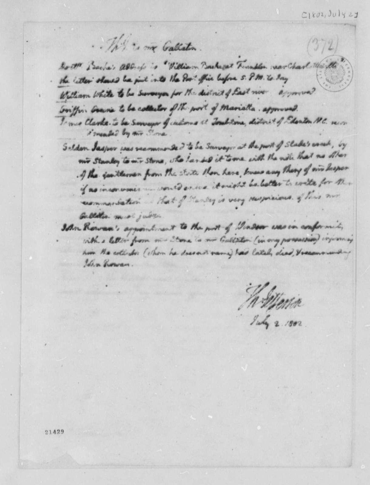 Thomas Jefferson to Albert Gallatin, July 2, 1802