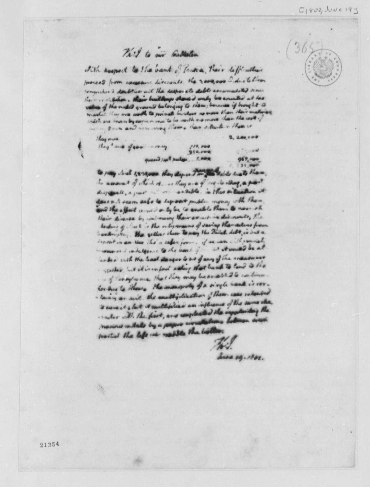 Thomas Jefferson to Albert Gallatin, June 19, 1802