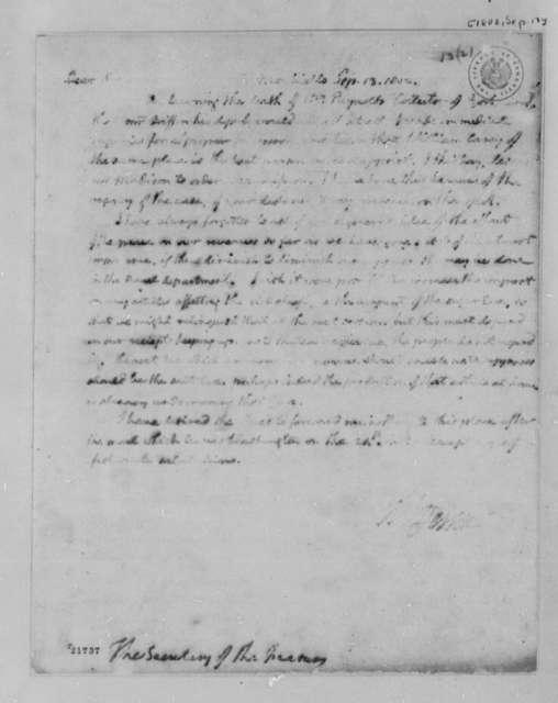 Thomas Jefferson to Albert Gallatin, September 13, 1802, Partial Transcription Available