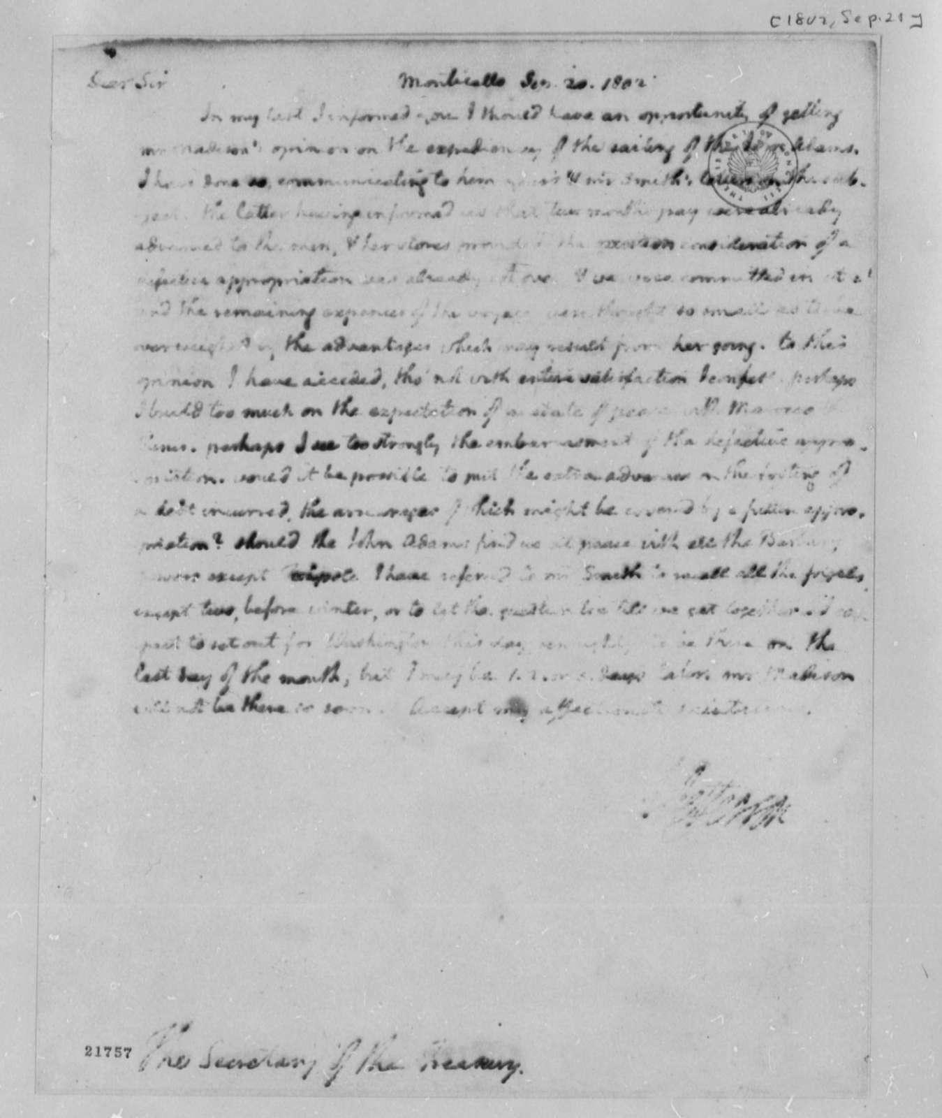 Thomas Jefferson to Albert Gallatin, September 20, 1802